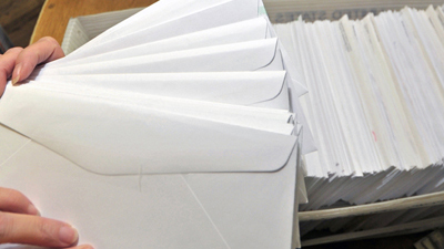 bins of mail