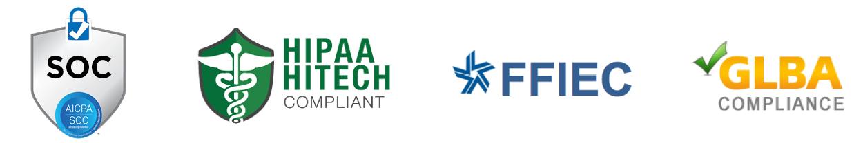 data security logos - SOC II, HIPAA, HITECH, FFIEC, and GLBA
